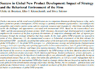 Success in Global New Product Development